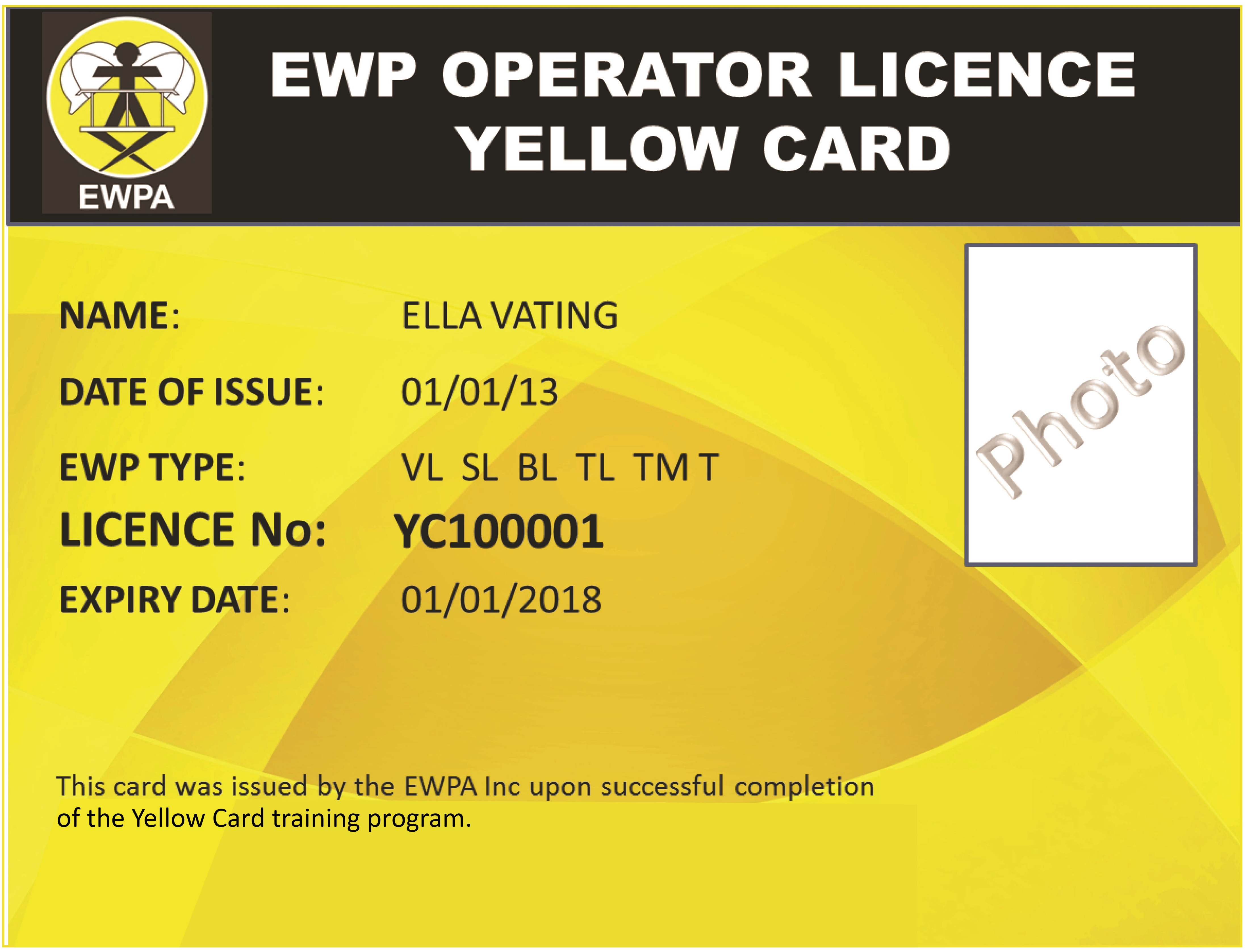 Scissor lift training and assessment equip safe for Aerial lift certification card template